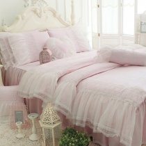 Sophisticated Elegant Pale Pink Vintage Shabby Chic Victorian Lace Gathered Ruffle Romantic Girls Twin, Full, Queen Size Bedding Sets