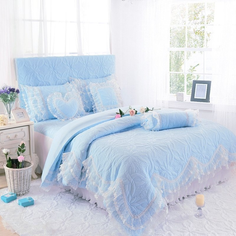 Tiffany Blue Victorian Lace Sophisticated Quilted with Gathered Bedspread Twin, Full, Queen Size Bedding Sets