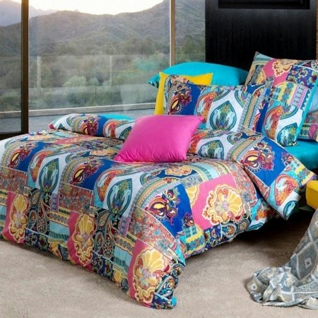 Bohemian Southwestern Style Peacock Blue Orange Yellow and Hot Pink Tribal Paisley Print Patchwork Medieval Full, Queen Size Bedding Sets