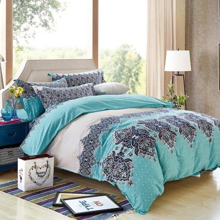 Navy Blue Khaki Beige and Turquoise Bohemian Baroque Style Tribal and Polka Dot Print Unique Adults Full, Queen Size Bedding Sets