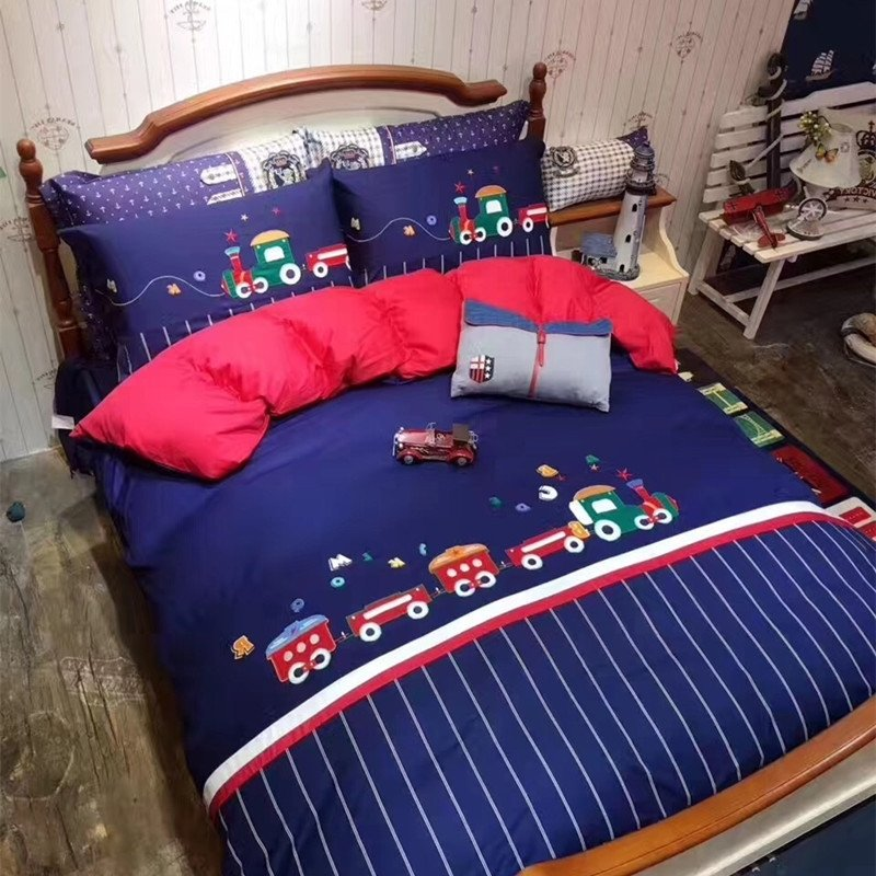 Green Railroad Themed Vintage Train, Full Size Bedding For Toddler Boy