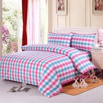 Girls Pink White and Blue Checkered Plaid Print Sophisticated Elegant Full, Queen Size Bedding Sets
