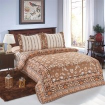 Khaki and Brown Ethnic Pattern Bohemian Style Old Fashion Shabby Chic Full, Queen Size Bedding Sets