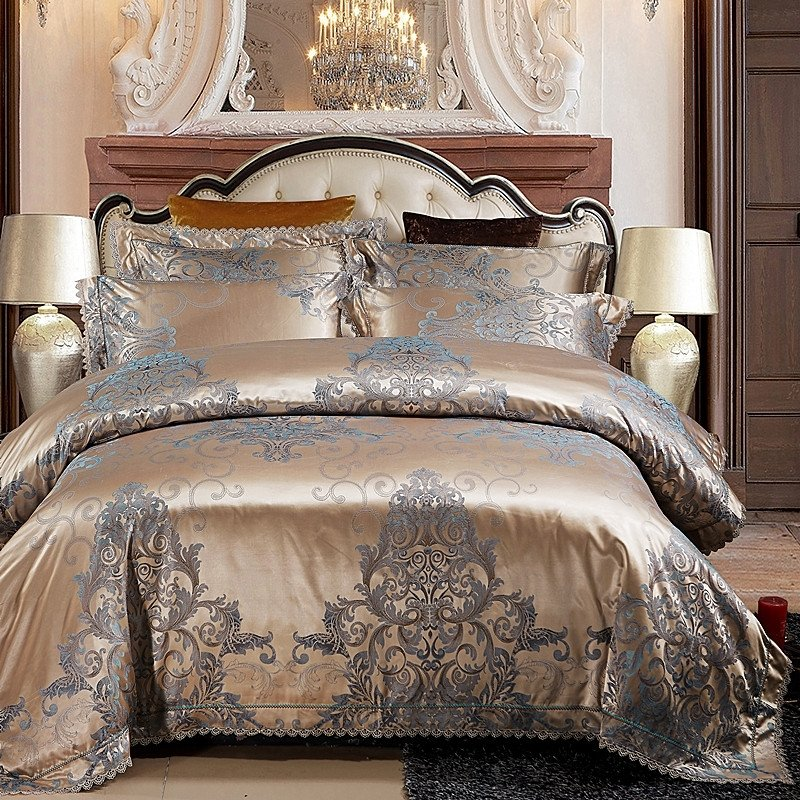 Luxury Metallic Gold And Gray Victorian Gothic Pattern Indian Bohemian Style Exotic Western Full Queen Size Bedding Sets