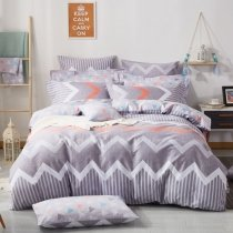 Unusual Gray Orange and White Chevron Stripe Print Masculine Style Abstract Shabby Chic Full, Queen Size Bedding Sets