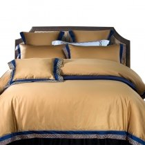 Noble Excellence Gold and Navy Blue Luxury Hotel Style Simply Chic Egyptian Cotton Full, Queen Size Bedding Sets
