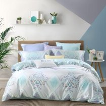 Tiffany Blue Purple and White Modern Bohemian Chic Indian and Ikat Pattern Southwestern Style Full, Queen Size Bedding Sets
