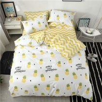 Hipster Yellow Green Black and White Pineapple Print Monogrammed Preppy Style Modern Chic Kids Twin, Full Size Bedding Sets