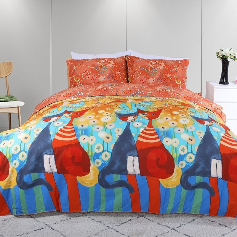 Fancy Navy Blue Turquoise Red Yellow and Orange Cat Sun and Dandelion Print  Bright Colorful Full, Queen Size Bedding Sets