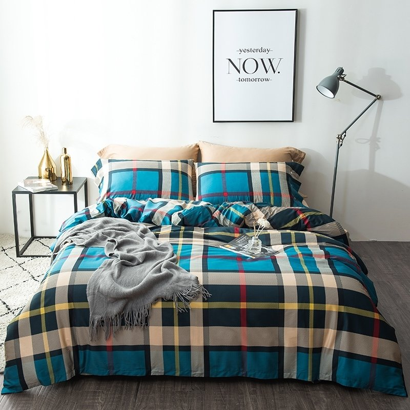 Beige And Coffee Plaid Print Linen Contemporary Bedroom: Dark Teal Beige Gray Red And Blue Country Tartan Plaid