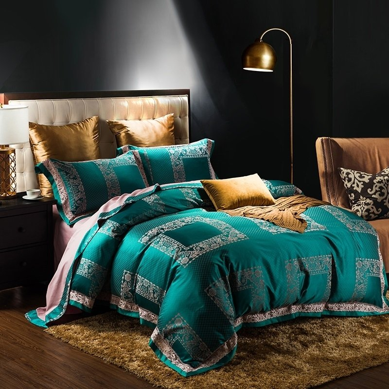 Teal Green And Gold Patchwork Plaid And Tribal Print