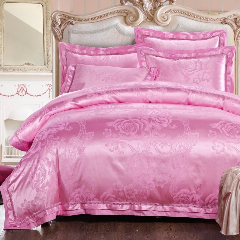 Pink Full Size Bedding Sets.Vogue Hot Pink Floral And Paisley Pattern Elegant Girls Sequin Satin Full Queen Size Bedding Sets