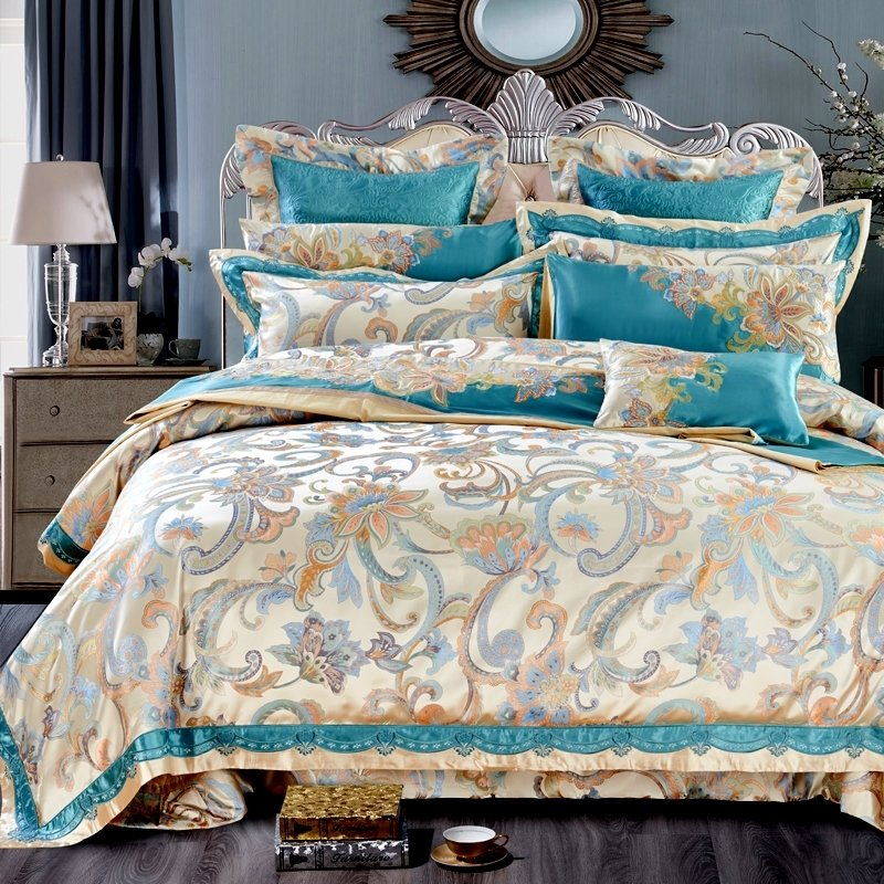 Turquoise And Gold Botanical Floral Rustic Chic Jacquard